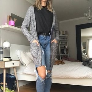 Sweaters - Long cardigan with zipper